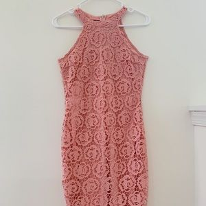 Pink Rose Lace Dress
